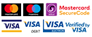 Payment cards Visa, Visa Debit, MasterCard, MasterCard SecureCode Verified by Visa